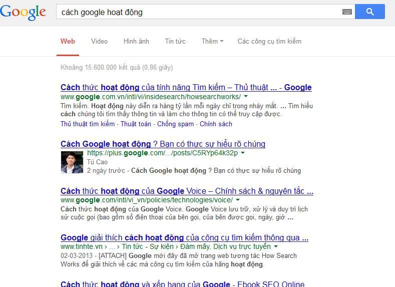 google page hoạt động
