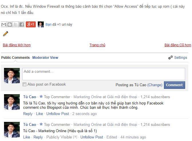 Kết quả thêm Facebook Comment cho Blogger
