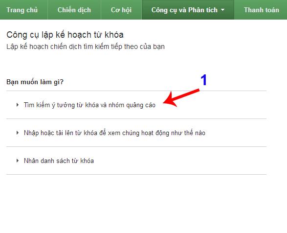 Tìm kiếm ý tưởng quảng cáo google keyword planner