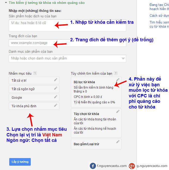 Nhập từ khóa cần kiểm tra với Keyword Planner