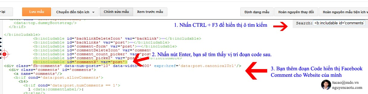 Thêm đoạn code hiển thị Facebook Comment cho Blogspot