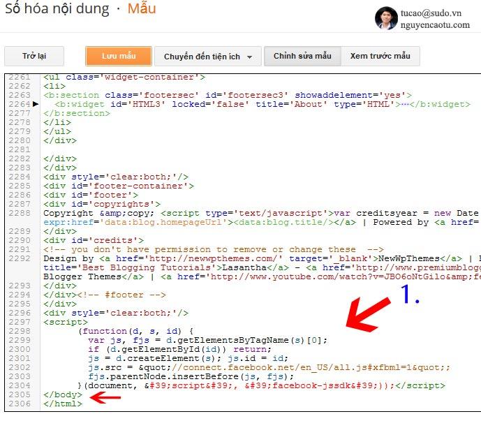 Thêm đọa mã Javascript của Facebook vào Blogspot