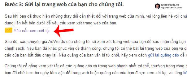 Gửi lại trang Web cho Google kiểm tra